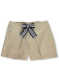 Girls' Bow Front Pleated Shorts by French Toast in khaki and navy