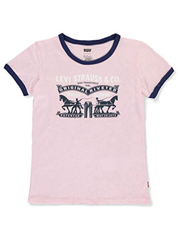 Girls' Contrast Rib-Knit T-Shirt by Levi's in pink and red, Sizes 7-16