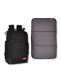 "Flap Top 16"" Backpack Diaper Bag by Levi's in Black"