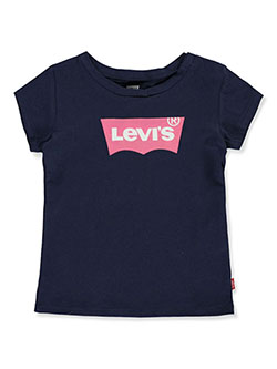 Baby Girls' T-Shirt by Levi's in navy and white