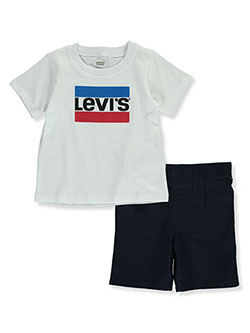 Levi's 2-Piece Knit Terry Shorts Set Outfit by Levis in White - Short Sets