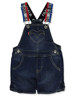 Baby Girls' Heart Chambray Shortalls by Levi's in Dark denim - Overalls & Shortalls