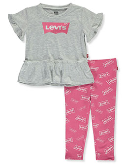 Glitter Logo 2-Piece Leggings Set Outfit by Levi's in Gray/pink, Infants