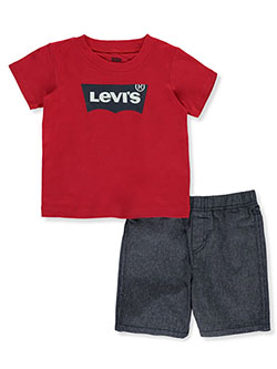 Denim Stripe 2-Piece Shorts Set Outfit by Levi's in Red