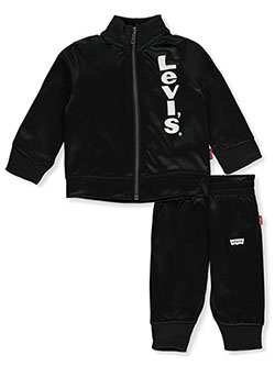 Side Logo 2-Piece Track Suit Pants Set Outfit by Levi's in black and red, Infants