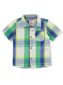 Baby Boys' Cotton Button-Down Shirt by Levi's in green and teal