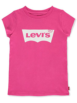 Girls' Classic Logo T-Shirt by Levi's in hot pink and lime