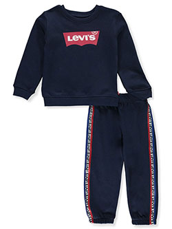 Boys' Logo Taped 2-Piece Sweatsuit Outfit by Levi's in blue and red