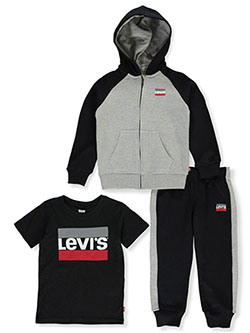 Boys' Stack Logo 3-Piece Sweatsuit Outfit by Levi's in gray and red