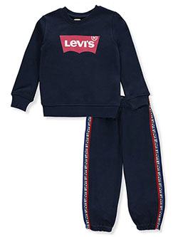 Boys' Logo Taped 2-Piece Sweatsuit Outfit by Levi's in blue, gray and white