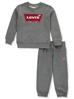 Embroidered Logo 2-Piece Sweatsuit Outfit by Levi's in Dark heather gray, Brands