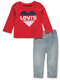Baby Girls' 2-Piece Jeans Set Outfit by Levi's in Red