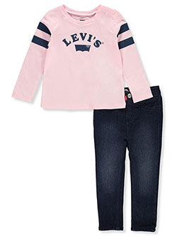 Baby Girls' 2-Piece Jeans Set Outfit by Levi's in Dark pink
