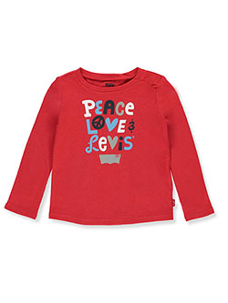 Baby Girls' Peace Love L/S T-Shirt by Levi's in Red