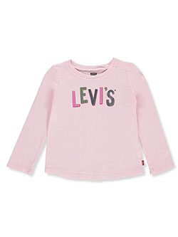 Baby Girls' Texture Logo L/S T-Shirt by Levi's in Dark pink