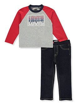 Baby Boys' Raglan 2-Piece Jeans Set Outfit by Levi's in Red, Infants