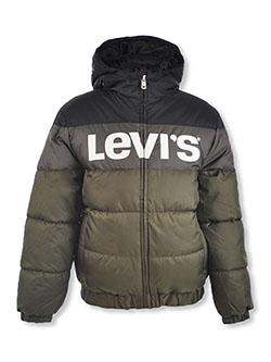 Boys' Logo Panel Insulated Hooded Jacket by Levi's in Multi, Boys Fashion