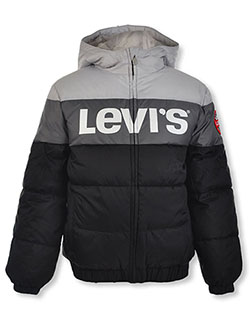 Boys' Logo Panel Insulated Hooded Jacket by Levi's in Gray, Boys Fashion