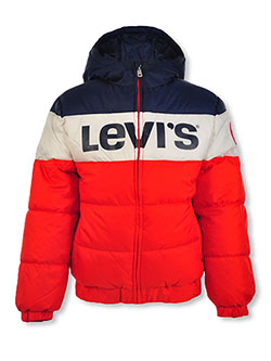 Boys' Logo Panel Insulated Hooded Jacket by Levi's in White, Boys Fashion