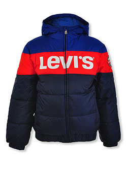 Boys' Logo Panel Insulated Hooded Jacket by Levi's in Blue, Boys Fashion