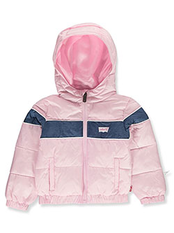 Denim-Look Insulated Hooded Jacket by Levi's in Pink, Infants