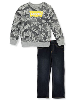 Boys' Dino Print 2-Piece Jeans Set Outfit by Levi's in Gray