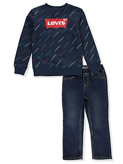 Boys' Text Print 2-Piece Jeans Set Outfit by Levi's in Navy