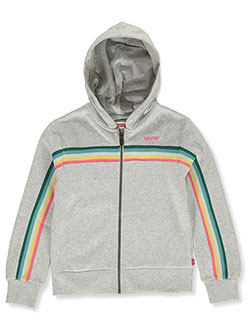 Girls' Ribbon Trim Zip Hoodie by Levi's in Gray
