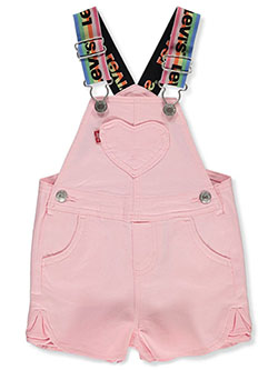 Baby Girls' Heart Chambray Shortalls by Levi's in Denim pink - $24.99