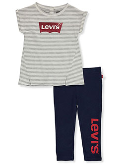 Baby Girls' 2-Piece Leggings Set Outfit by Levi's in Gray