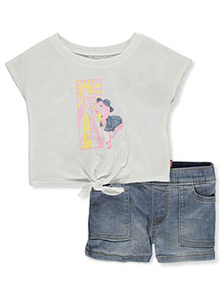 2-Piece Denim Short Shorts Set Outfit by Levi's in White