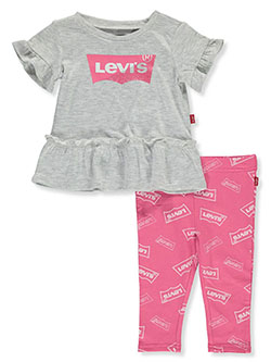 Baby Girls' 2-Piece Leggings Set Outfit by Levi's in gray and white