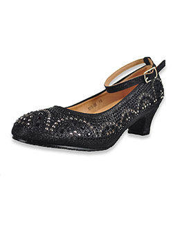 Girls' Glitter Mini Pumps by Easy Strider in black, silver and white - Dress Shoes