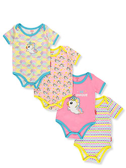 Baby Girls' Unicorns 4-Pack Bodysuits by Fisher Price in Multi