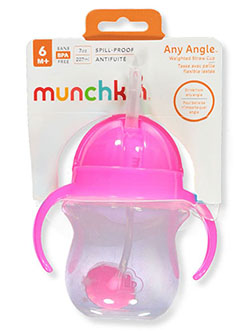 Any Angle Weighted Straw Cup by Munchkin in neon blue, neon green, neon orange and neon pink