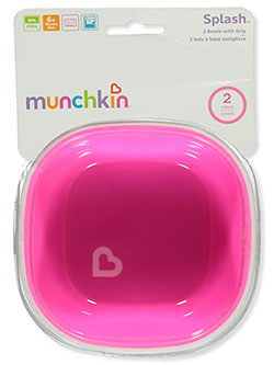 Splash 2-Pack Bowls with Grip by Munchkin in blue/green and pink/purple