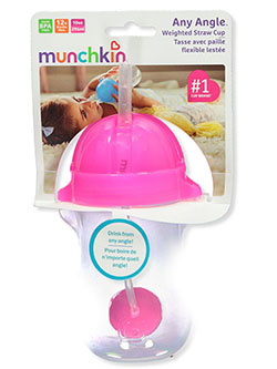 Any Angle Weighted Straw Cup by Munchkin in blue, orange and pink