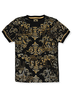 Boys' Milan T-Shirt by Bucheli Kids in black/gold and white