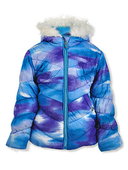 Girls' Tie-Dye Insulated Parka by Cheetah in blue and pink