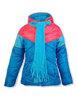 Angled Baffle Insulated Parka with Scarf by Swiss Alps in blue, gray and navy