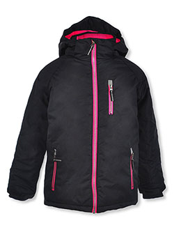 Girls' Zip Pocket Insulated Parka by Arctic Quest in Black/pink