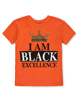 Boys' Black Excellence T-Shirt by Brooklyn Vertical in Orange