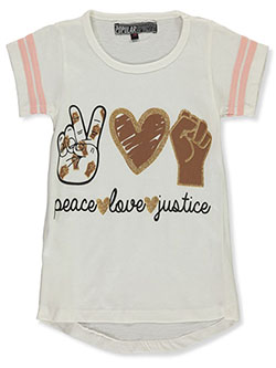 Girls' Peace Love Justice Top by Popular Sports in White