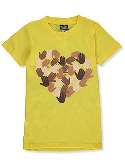Girls' Heart Hands T-Shirt by Popular Sports in Yellow
