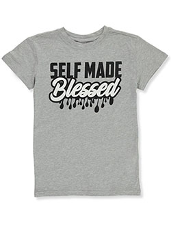 Boys' Self-Made Blessed T-Shirt by Brooklyn Vertical in Heather gray