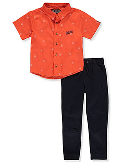 Cross Print 2-Piece Joggers Set Outfit by Ecko Unltd. in Orange/navy, Boys Fashion