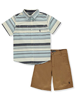 Horizontal Stripe 2-Piece Shorts Set Outfit by English Laundry in Brite blue