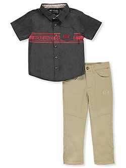 Logo Stripe 2-Piece Joggers Set Outfit by Ecko Unltd. in Gray/khaki, Boys Fashion