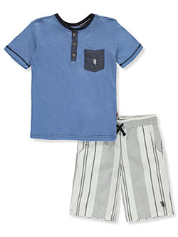Henley 2-Piece Shorts Set Outfit by English Laundry in Blue, Sizes 8-20