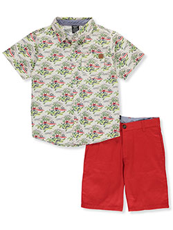 Island Print 2-Piece Shorts Set Outfit by American Hawk in White/red